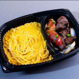 Combinado No.1- Spaghetti Huancaina con Lomo Saltado